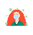 woman with bright red hair defends herself against vector image vector image