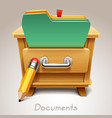 wooden drawer for documents icon vector image vector image