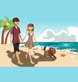 young couple on the beach vector image vector image
