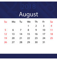 august 2018 calendar popular blue premium for vector image vector image