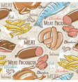 Background with chick fish salami and sausage vector image