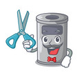 barber steel trash can with lid cartoon vector image