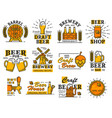 beer house bar or brewery icons with alcohol drink vector image vector image