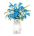 bouquet spring flowers and blue forget-me-nots vector image