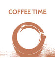 brown vintage coffee time poster t-shirt design vector image vector image