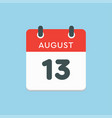 calendar icon day 13 august date days year vector image vector image
