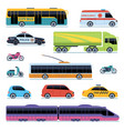 car collection vehicles city transportation cars vector image
