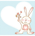Card with smiling toy bunny holding flowers vector image vector image
