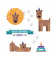 cartoon style set dog party and birthday vector image