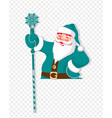 christmas silhouette of santa claus with a staff vector image vector image