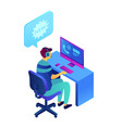 cold calling and operator with headset isometric vector image vector image