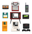 collection of retro technique audio music vector image vector image