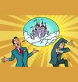 confident businessman offers a man fabulous castle vector image vector image