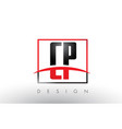 cp c p logo letters with red and black colors and vector image vector image