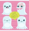 Cute cartoon ghost set Funny Halloween character vector image vector image