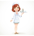 Cute girl nurse in white medical coat with a tray vector image vector image