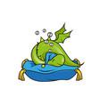 cute little dragon sleeping on pillow vector image vector image