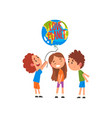 cute little kids holding balloon in the shape of vector image vector image