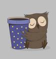 cute owl with coffee cup sleeping bird cartoon vector image vector image