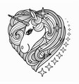 cute unicorn head with a long mane black and vector image