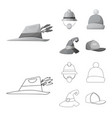 design of headwear and cap icon collection vector image vector image
