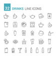 drinks line icons vector image
