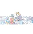 elderly care - modern line design style vector image