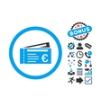 Euro Tickets Flat Icon with Bonus vector image vector image