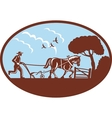 Farmer and horse plowing the field vector image vector image