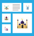 flat icon minaret set of traditional building vector image vector image