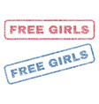 free girls textile stamps vector image vector image