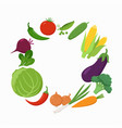 fresh vegetables around the text place in flat vector image vector image