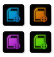 glowing neon upload file icon isolated on white vector image vector image