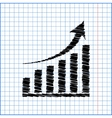 growing graph icon with pen effect on paper vector image vector image