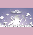 halloween background with witch pumpkin and crow vector image vector image