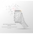 hand holding a smart phone low poly wire frame on vector image vector image