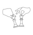 hands holding chess pieces chess single icon in vector image