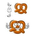 Happy cartoon bavarian crispy pretzel vector image vector image