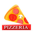 hot pizza slice with salami tomatoes and mushrooms vector image vector image
