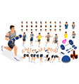 isometric create sporty inflated man hairstyles vector image vector image