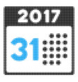 last 2017 month day halftone icon vector image