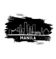 manila philippines skyline silhouette hand drawn vector image