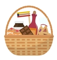 Mishloach manot basket with food treats Purim vector image vector image