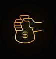Money bag in hand golden icon