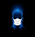 neon silhouette man head with white medical vector image