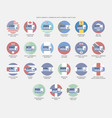 north america currencies with symbols and flags vector image