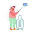 old woman making selfie on smartphone isolated on vector image