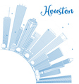 Outline Houston Skyline with Blue Buildings vector image vector image