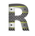 perforated metal letter R vector image vector image