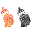 pixel brain washing mosaic icons vector image